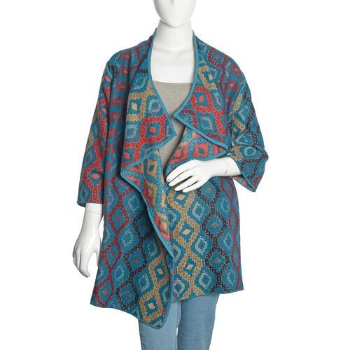 Designer Inspired -Turquoise, Red and Multi Colour Geometric Pattern Knitted Jacket (Size 85X55 Cm)