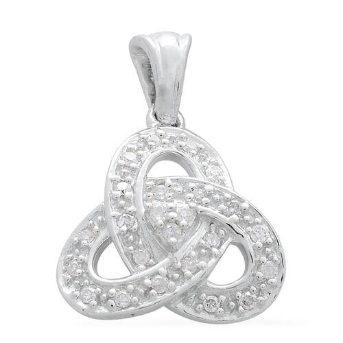 9K White Gold Diamond Trinity Knot Pendant I3 G-H, SGL Certified