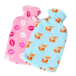 Set of 2 - Hotwater Light Blue, Pink and Multi Colour Fox and Lips Pattern Flannel Bottle Cover and Bottles (Size 32x18 Cm)