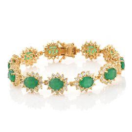 Verde Onyx (Ovl), White Topaz Bracelet (Size 7.25) in 14K Gold Overlay Sterling Silver 29.000 Ct. Silver wt 17.90 Gms. Number of Gemstone 143