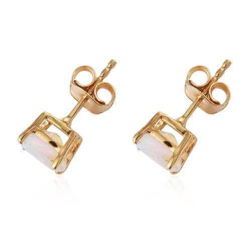 Ethiopian Welo Opal 1 Carat Silver Stud Earrings in Gold Overlay