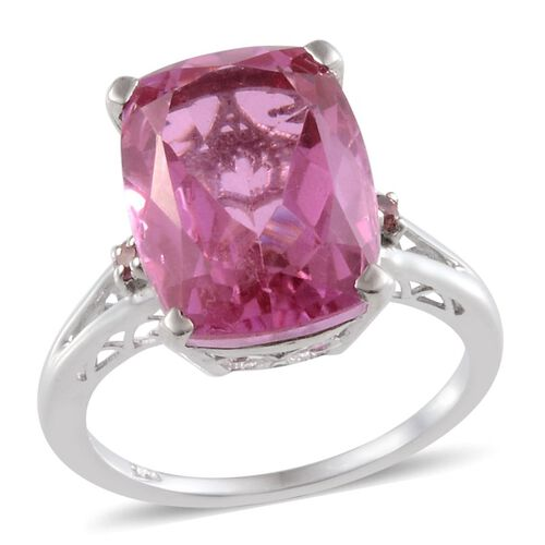 Kunzite Colour Quartz (Cush 10.50 Ct), Pink Tourmaline Ring in Platinum Overlay Sterling Silver 10.600 Ct.