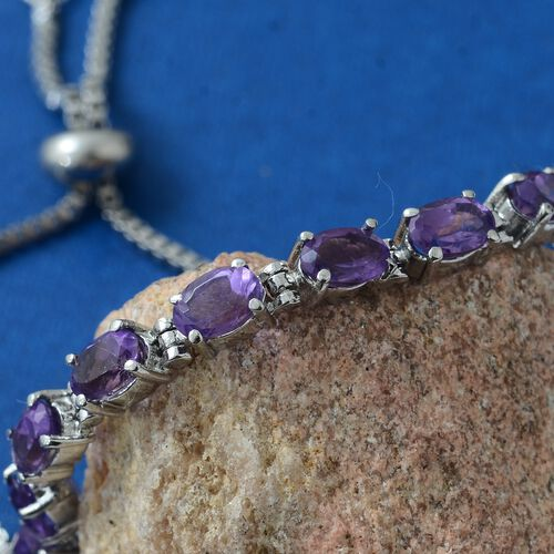 Designer Inspired - Lusaka Amethyst (Ovl) Adjustable Bracelet (Size 6.5 to 8.5)  4.000 Ct.