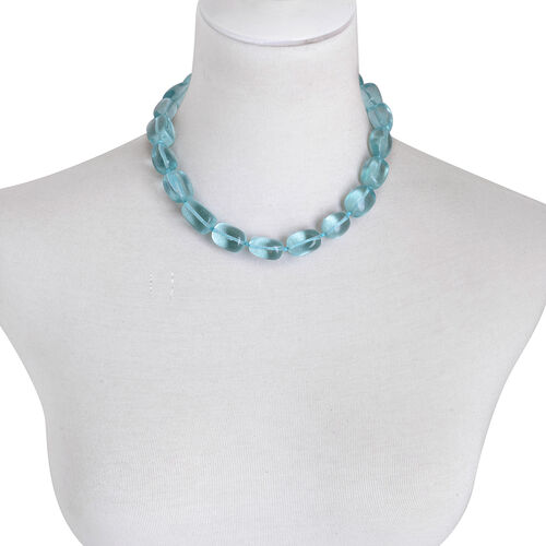 Blue Glass Necklace (Size 18) in Sterling Silver