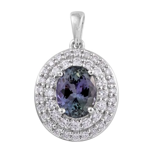 ILIANA 18K White Gold 3.30 Ct AAA Rare Peacock Tanzanite Pendant with two row Diamond SI G-H