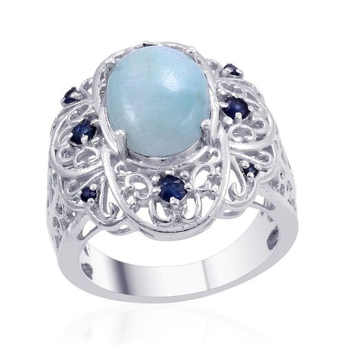 Designer Collection Chinese Aragonite Blue (Ovl 4.95 Ct), Kanchanaburi Blue Sapphire Ring in Platinum Overlay Sterling Silver 5.550 Ct.