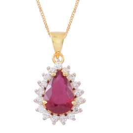 Designer inspired - African Ruby (Pear 3.75 Ct), Natural White Cambodian Zircon Pendant With Chain in 14K Gold Overlay Sterling Silver 4.500 Ct. Silver wt. 3.00 Gms.