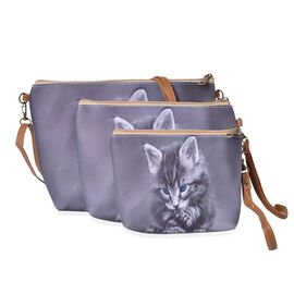 Set of 3 - Grey Colour Cat Face Cosmetic Bag (Size Large 28X27X7 Cm, Medium 21X15X6 Cm and Small 18X12X5 Cm)