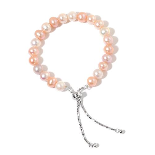 Designer Inspired AAA Fresh Water Multi Colour Pearl Adjustable Bracelet (Size 6 to 8) in Rhodium Plated Sterling Silver