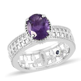 GP Amethyst (Ovl 2.45 Ct), Kanchanaburi Blue Sapphire Ring in Platinum Overlay Sterling Silver 2.500 Ct. Silver wt 5.71 Gms.