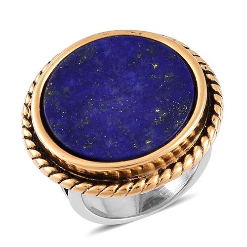 Lapis Lazuli Ring in Golden and Stainless Steel 25.000 Ct.