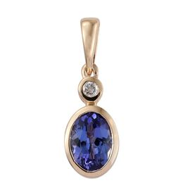 14K Y Gold AA Tanzanite (Ovl), Diamond Pendant 1.000 Ct.