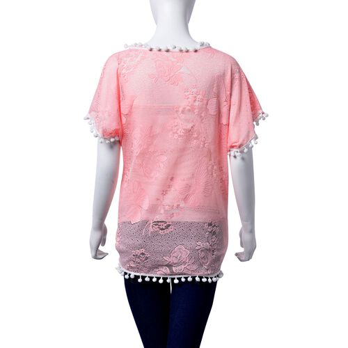 Floral and Butterfly Pattern Pink Colour Poncho with White Pom Pom