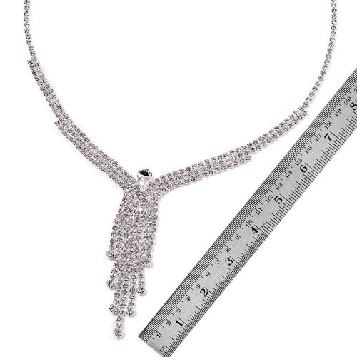 Simulated White Diamond and White Austrian Crystal Necklace (Size 20 with 2 inch Extender) and Earrings (with Push Back) in Silver Tone