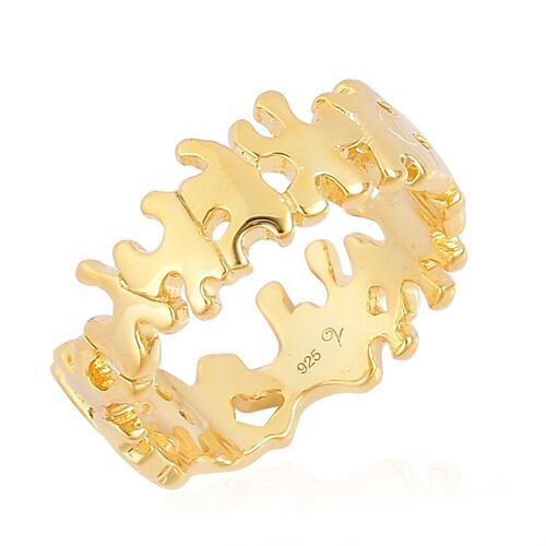 LucyQ Splash Ring in Yellow Gold Overlay Sterling Silver 4.37 Gms.