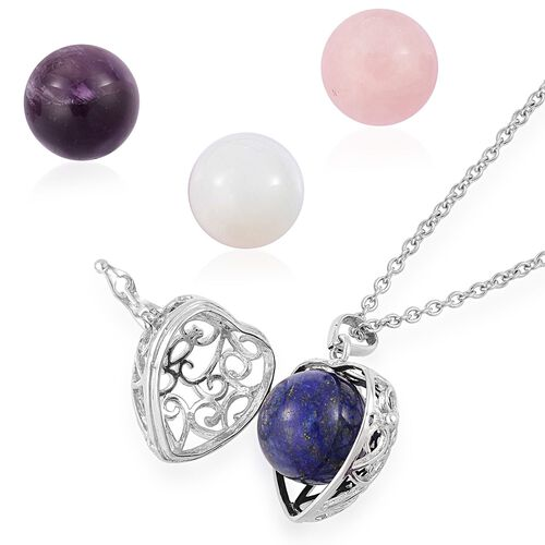 Rose Quartz, Amethyst, Lapis Lazuli and Opalite Interchangeable Filigree Heart Pendant with Chain (Size 24) in Silver Tone with Stainless Steel 119.500 Ct.