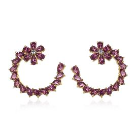 Rhodolite Garnet (Pear), Natural Cambodian Zircon Floral Earrings (with Push Back) in 14K Gold Overlay Sterling Silver 10.000 Ct.