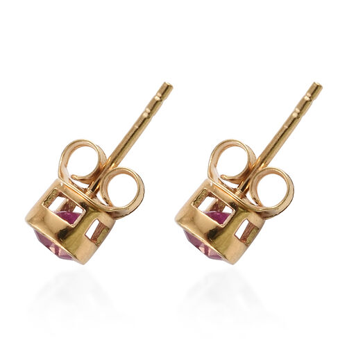 African Ruby (Rnd)  Solitaire Stud Earrings (with Push Back) in Gold Plated Silver 0.75 Ct