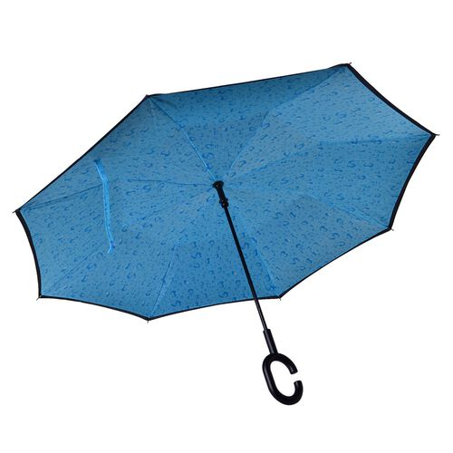 Reverse Folding Double Layer C-Handle Umbrella with Water drop pattern - Turquoise (Size-88 Cm)