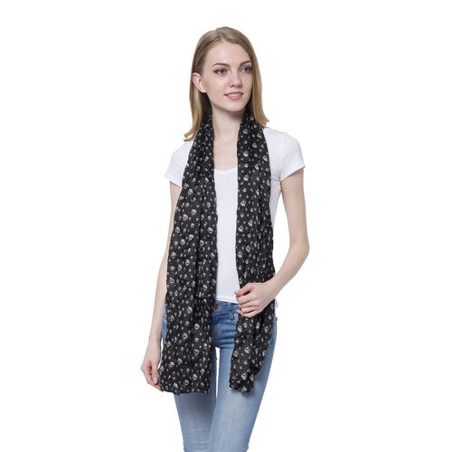 100% Mulberry Silk Black and White Colour Skull Pattern Scarf (Size 175x100 Cm)