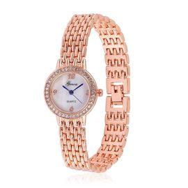 GENOA Japanese Movement White Dial Watch with White Austrian Crystal in Rose Gold Tone
