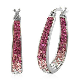 AAA Pink and White Austrian Crystal Hoop Earrings (with Clasp) in Silver Bond