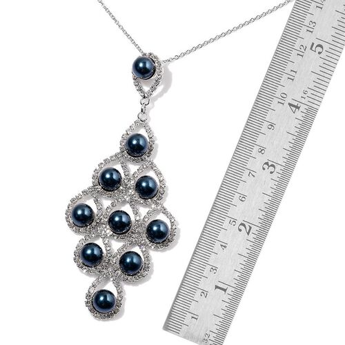 Simulated Peacock Pearl and White Austrian Crystal Pendant With Chain and Earrings (with Push Back) in Silver Tone with Stainless Steel