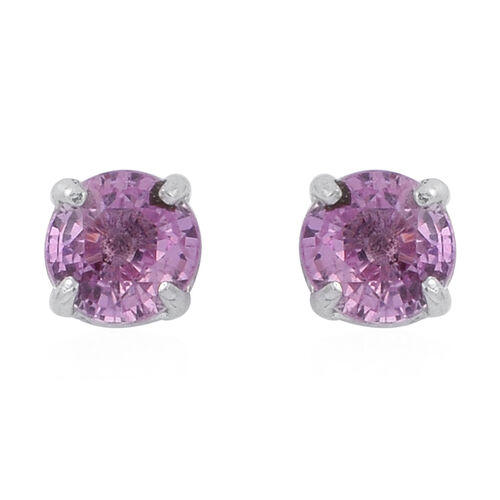 Pink Sapphire (Rnd) Stud Earrings in Rhodium Plated Sterling Silver 1.000 Ct.