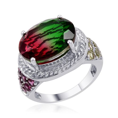 Tourmaline Colour Quartz (Ovl 9.25 Ct), Hebei Peridot and Rhodolite Garnet Ring in Platinum Overlay Sterling Silver 10.750 Ct.