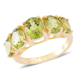 Hebei Peridot (Ovl 1.90 Ct) 5 Stone Ring in 14K Gold Overlay Sterling Silver 6.250 Ct.
