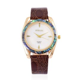 STRADA Mother of Pearl and Abalone Shell Bezel Japanese Movement Cobble Embossed Watch Yellow Gold Tone