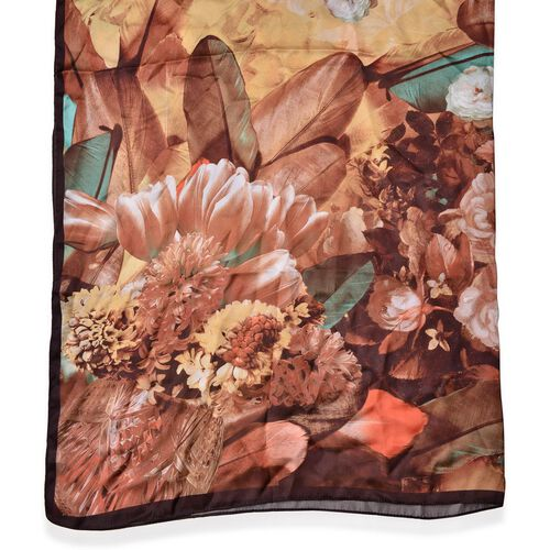 Brown and Golden Colour Bloom Flower Pattern Scarf (Size 110X110 Cm)