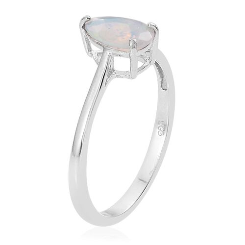 Ethiopian Welo Opal 0.75 Ct Silver Pear Solitaire Ring in Platinum Overlay
