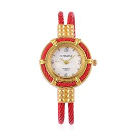 STRADA Japanese Movement Red Colour Bangle Watch in Gold Tone with Stainless Steel Back