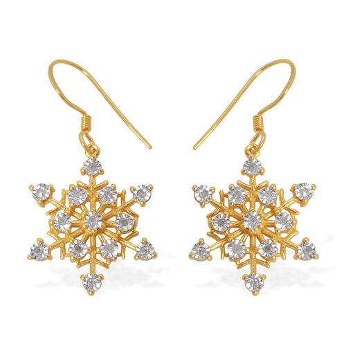 Starburst Diamond 14K Gold Overlay Sterling Silver Earring 0.15 Ct.