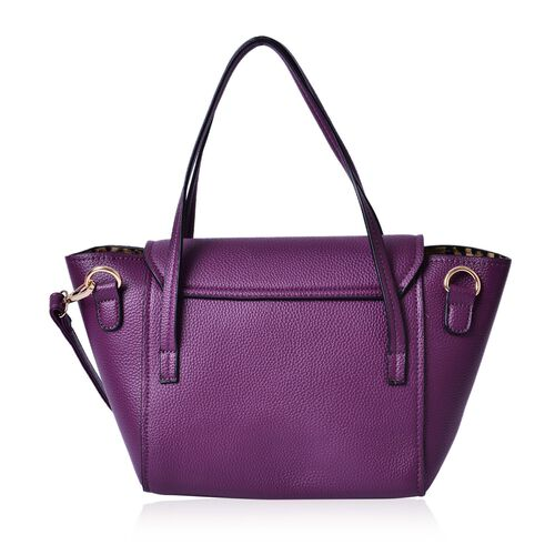 Set of 2 - Purple Colour Large and Small Handbag with Adjustable and Removable Shoulder Strap (Size 35x22x13 Cm , 20.5x14x7 Cm)