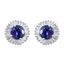 ILIANA 18K White Gold 1.35 Carat AAA Tanzanite Round Halo Stud Earrings, Diamond SI G-H with Screw Back.