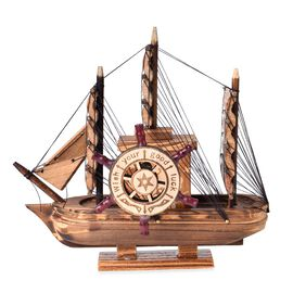 Home Decor - Chocolate Colour Wooden Sailing Ship Design Music Box (Size 20X20X5 Cm) with Spinning Helm