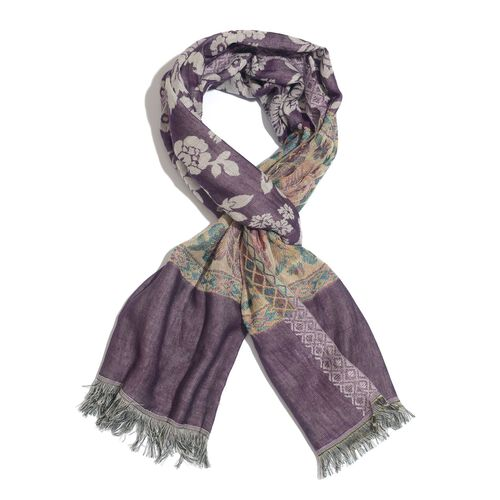 Purple, Yellow and Multi Colour Floral Pattern Scarf (Size 180x70 Cm)
