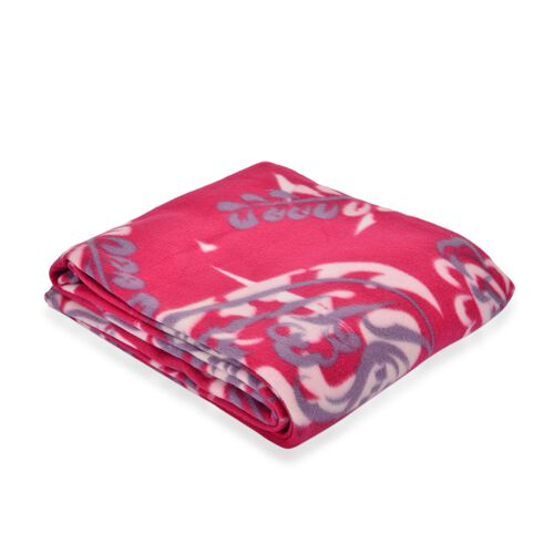 Super Bargain Price-Supersoft Fleece Blanket Allover Print Pink, White and Purple Colour (150x210 cm)
