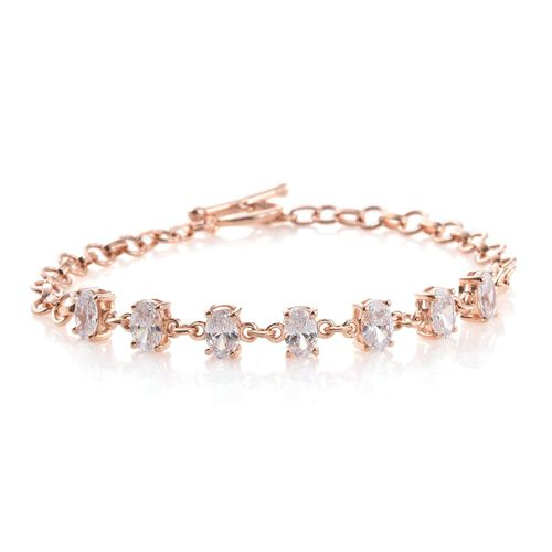 J Francis - Rose Gold Overlay Sterling Silver (Ovl) Bracelet (Size 7.5) Made with SWAROVSKI ZIRCONIA