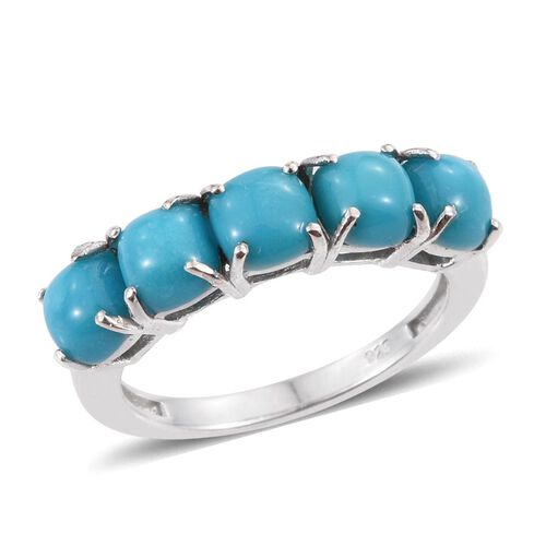 Arizona Sleeping Beauty Turquoise (Cush) 5 Stone Ring in Platinum Overlay Sterling Silver 2.750 Ct.