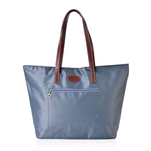 Light Grey Colour Tote Bag with External Zipper Pocket (Size 45x32.5x30x13 Cm)