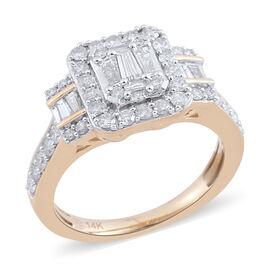 14K Yellow Gold Diamond (Bgt & Rnd) (I1-I2/G-H) Ring 1.000 Ct.