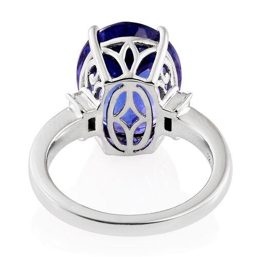 RHAPSODY 950 Platinum AAAA Tanzanite (Ovl 12.10 Ct), Diamond (VS/E-F) Ring 12.400 Ct.