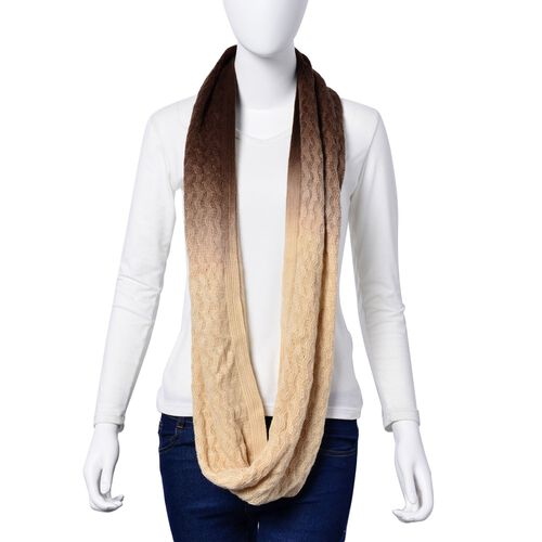 Chocolate and Cream Colour Infinity Scarf (Size 80x40 Cm)