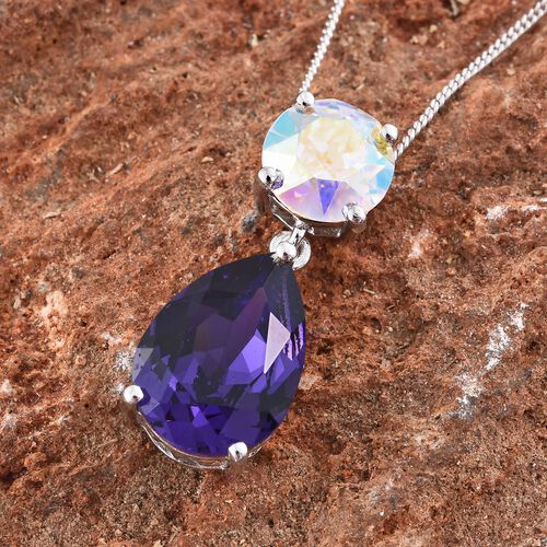 J Francis Crystal from Swarovski - Amethyst Colour Crystal (Pear), AB Colour Crystal Pendant With Chain in Platinum Overlay Sterling Silver. Silver wt. 3.00 Gms.