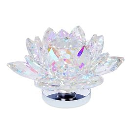 Home Decor -AAA AB Austrian Crystal and Faceted Glass Rotating Lotus Flower (Size 13x7 Cm)