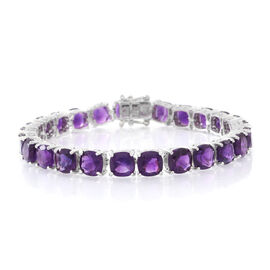 Super Auction - One Time Deal - Amethyst (Cush) Bracelet (Size 7) in Rhodium Plated Sterling Silver 31.750 Ct.