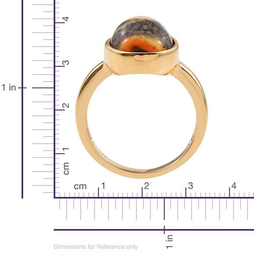 Bumble Bee Jasper (Pear) Solitaire Ring in 14K Gold Overlay Sterling Silver 4.750 Ct.